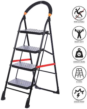 NHR Premium heavy steel 4 Step Foldable;Anti Skid;Ladder;lader;stairs;step stool for home and Office Use Safety Clutch Lock