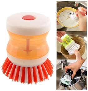 Nice Cleaning Brush With Liquid Soap Dispenser Self Dispensing Cleaning Brush Soap Brush ( Assorted)1pc.