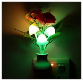 Night Light with Smart Sensor,0.7W Plug-In,Romantic Color Change,Mushroom&Lotus Leaf Lamp ( 1 pc. )