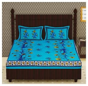 NIKHILAM Cotton Floral King Size Bedsheet 104 TC ( 1 Bedsheet With 2 Pillow Covers , Turquoise )