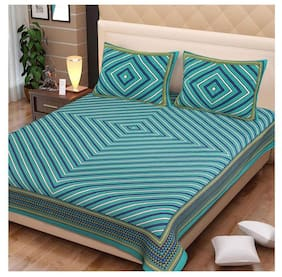 NIKHILAM Cotton Geometric King Size Bedsheet 250 TC ( 1 Bedsheet With 2 Pillow Covers , Turquoise )