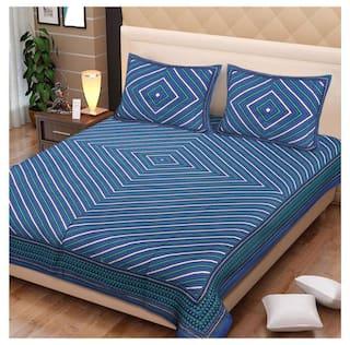 NIKHILAM Cotton Geometric King Size Bedsheet 250 TC ( 1 Bedsheet With 2 Pillow Covers , Blue )