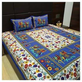 NIKHILAM Cotton Rajasthani Jaipuri Print King Size Bedsheet 250 TC ( 1 Bedsheet With 2 Pillow Covers , Blue )
