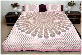 NIKHILAM Cotton Rajasthani Jaipuri Print King Size Bedsheet 300 TC ( 1 Bedsheet With 2 Pillow Covers , Pink )