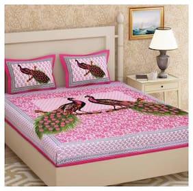 NIKHILAM Cotton Rajasthani Jaipuri Print King Size Bedsheet 104 TC ( 1 Bedsheet With 2 Pillow Covers , Pink )