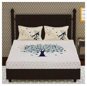 NIKHILAM Cotton Rajasthani Jaipuri Print King Size Bedsheet 104 TC ( 1 Bedsheet With 2 Pillow Covers , Multi )