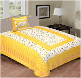 NIKHILAM Cotton Rajasthani Jaipuri Print Single Size Bedsheet 156 TC ( 1 Bedsheet With 1 Pillow Covers , Yellow & White )