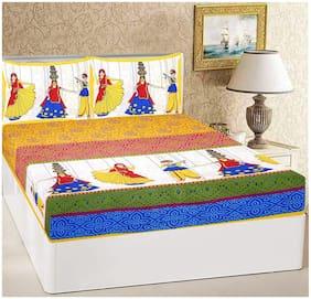 NIKHILAM Cotton Rajasthani Jaipuri Print King Size Bedsheet 250 TC ( 1 Bedsheet With 2 Pillow Covers , Yellow )