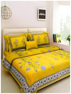 NIKHILAM Cotton Rajasthani Jaipuri Print King Bedsheet ( 1 Bedsheet With 2 Pillow Covers , Yellow )
