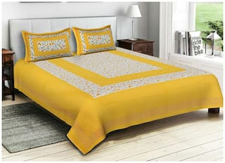 NIKHILAM Cotton Rajasthani Jaipuri Print King Size Bedsheet 300 TC ( 1 Bedsheet With 2 Pillow Covers , Yellow )
