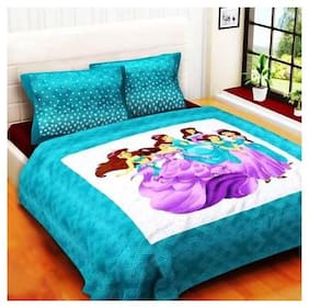 NIKHILAM Cotton Printed Queen Size Bedsheet 250 TC ( 1 Bedsheet With 2 Pillow Covers , Blue )
