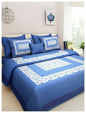 NIKHILAM Cotton Rajasthani Jaipuri Print King Size Bedsheet 300 TC ( 1 Bedsheet With 2 Pillow Covers , Blue & White )