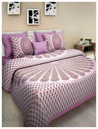 NIKHILAM Cotton Rajasthani Jaipuri Print King Size Bedsheet 144 TC ( 1 Bedsheet With 2 Pillow Covers , Multi )