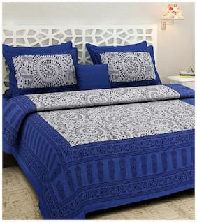 NIKHILAM Cotton Rajasthani Jaipuri Print King Size Bedsheet 240 TC ( 1 Bedsheet With 2 Pillow Covers , Blue & White )