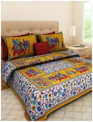 NIKHILAM Cotton Rajasthani Jaipuri Print King Size Bedsheet 240 TC ( 1 Bedsheet With 2 Pillow Covers , Multi )