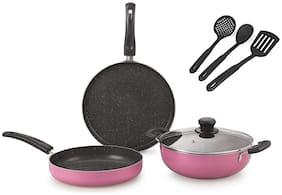 Nirlon Orchid Granite Cookware Combo Gift Set (Set of 7)