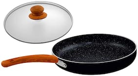 Nirlon Smoky Wood Non Induction Nonstick Aluminium Fry Pan With Glass Lid (Set of 2)
