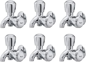NJT 2in1 Angle Society (Code - 11230) Silver Chrome Plated Tap for Bath And Kitchen - Pack of 6