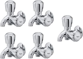 NJT 2in1 Angle Society (Code - 11229) Silver Chrome Plated Tap for Bath And Kitchen - Pack of 5