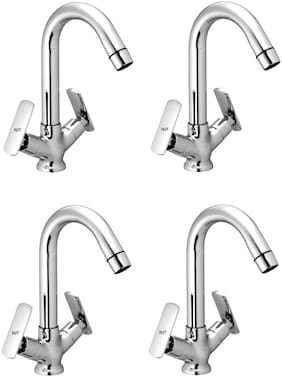 NJT Center Hole Bat (Code - 11288) Silver Chrome Plated Tap for Bath And Kitchen- Pack of 4