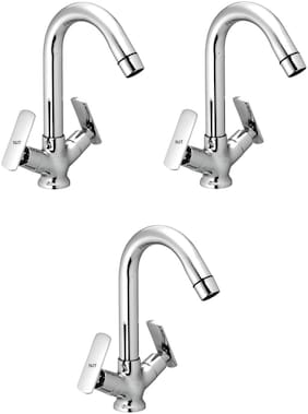 NJT Center Hole Bat (Code - 11287) Silver Chrome Plated Tap for Bath And Kitchen- Pack of 3