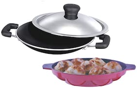 Non Stick Combo Pack Of Appachetty + Paniyarakkal 7 Pits  Jodi Pack (3 pc Set)