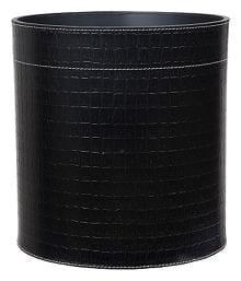 Nora Genuine Leather Waste Paper Basket, Dustbin (Black)