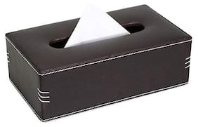 Now & Zen Faux Leather Tissue Box Holder - Rectangular Paper Napkin Holder Tissue Paper Dispenser Organizer for Home;Bathroom;Office;Car & Living Room - Brown