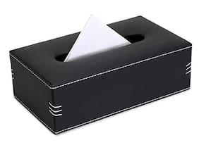 Now & Zen Faux Leather Tissue Box Holder - Rectangular Paper Napkin Holder Tissue Paper Dispenser Organizer for Home;Bathroom;Office;Car & Living Room - Black