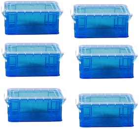 Now & Zen Set Of 6 Very Useful Kits Long Storage Organiser Box For Arts;Crafts & Stationary Set Of 6- Blue