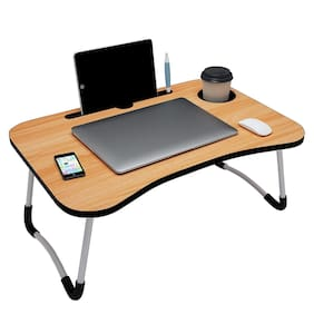 Noymi Multipurpose Foldable Laptop Table with Cup Holder & Drawer;Study Table;Bed Table;Breakfast Table;Foldable and Portable Ergonomic & Rounded Edges Non-Slip Legs