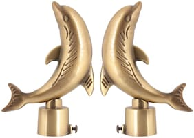 NUMEN Antiuqe Dolphin Brass Curtain Brackets Set (Pack of 2 Pcs.) Without Supports (Gold)