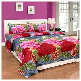 NY Print 5D Floral Double Bedsheet and Pillow Covers Beautiful Design Set of 3