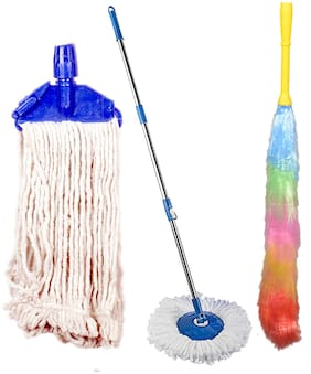 Oanik Stainless Steel and Plastic Mop Rod Stick with 1 Roll and Fit lopped Cotton And Microfiber Static Multicolour Duster Refills Set (Standard Size)