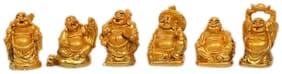 Oanik Vastu Feng Shui Golden Set Of Laughing Buddha 6 pc Set Small