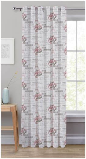 Oasis Home Cotton Printed 7 Ft Eyelet Door Curtain with Tie Back - Rose ( Pack of 1)