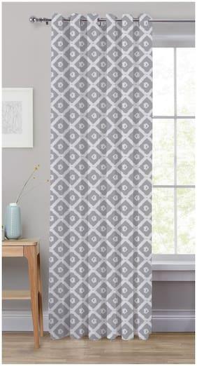 Oasis Hometex Cotton Door Blackout Grey Regular Curtain ( Eyelet Closure , Geometric )