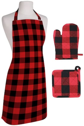 Oasis Hometex Cotton Aprons & gloves set Red & Black ( Pack of 3 )