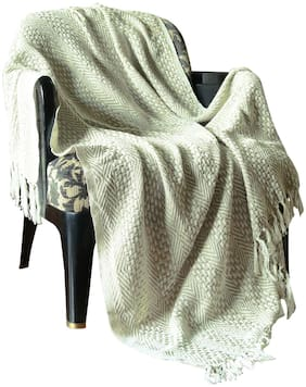 Oatmeal Diamond Cross Woven Knitted Single Cotton Sofa Throw AC Quilt Blanket By Rajrang