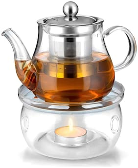 Octavius Borosilicate Glass Teapot/Kettle with Heat Resistant Removable Stainless Steel Infuser And Warmer | 2 Tea Light Candles - 450 ml