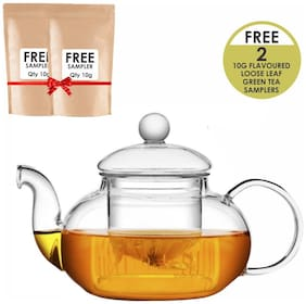 Octavius Borosilicate Glass Teapot / Kettle with Heat Resistant Removable Glass Infuser and Lid - 800ml