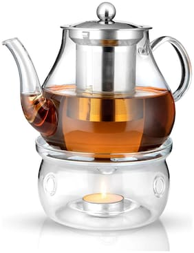 Octavius Borosilicate Glass Teapot/Kettle with Heat Resistant Removable Stainless Steel Infuser And Warmer | 2 Tea Light Candles - 800 ml