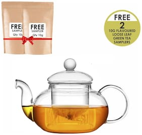 Octavius Borosilicate Glass Teapot / Kettle with Heat Resistant Removable Glass Infuser and Lid - 600ml