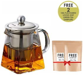 Octavius Elegant Pyramid Borosilicate Glass Teapot / Kettle with Heat Resistant Removable Stainless Steel Infuser and Lid - 500ml