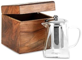 Octavius Pyramid Shape 720 ML Borosilicate Glass Teapot/Kettle with Stainless Steel Infuser and Lid in Dark Wooden Gift Box |