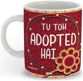 Oddclick Tu Adopted Hai Rakhi - Birthday Gift For Sister Best Sister Printed Coffee Mug 300 Ml