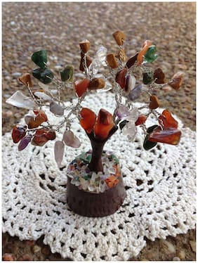Odishabazaar Natural Healing Gemstone Crystal Fengshui Bonsai Money Tree Fortune Tree for Good Luck, Wealth & Prosperity, Happiness, Home Good Luck Decoration, Healing Gift (Multi-Mix)
