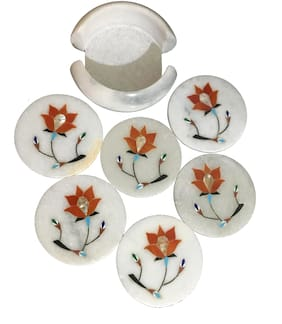OkayTree Marble Tea Coasters, Set of 6 in a Marble Holder