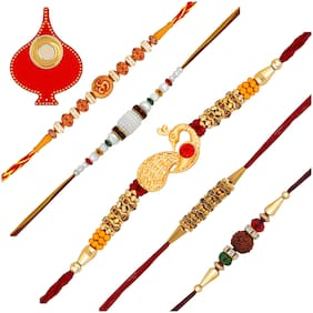 Om Jewells Gold Platted Rakshabandhan Gifts Combo of 5 Alluring Delicate Rakhi(Bracelet) Set with Red Tilak Plate for Dearest Bhaiya/Brother CO1000247