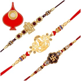 Om Jewells Gold Platted Combo of 3 Religious and Auspicious Ganesha  Laxmi Mata and Swastika Rakhi Set with Red Tilak Plate for Beloved Bhaiya/Brother CO1000252